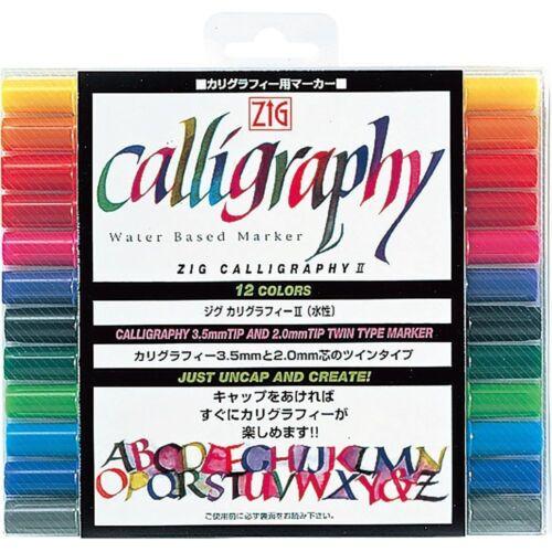 New Kuretake ZIG Calligraphy Water Based Marker 12-color TC-3100 xxx4031