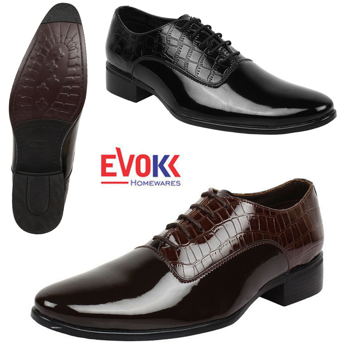 Black/Brown Men's Casual Up Smart Shoes Patent Dress Leather Lase Up Casual Polished 7-11 fa1d51