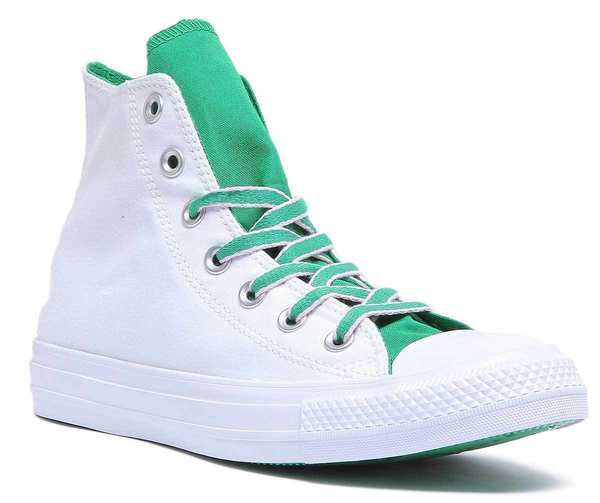 Converse Chuck Taylor All Star Hi Women Canvas White Green Hi Top Trainers Sizes