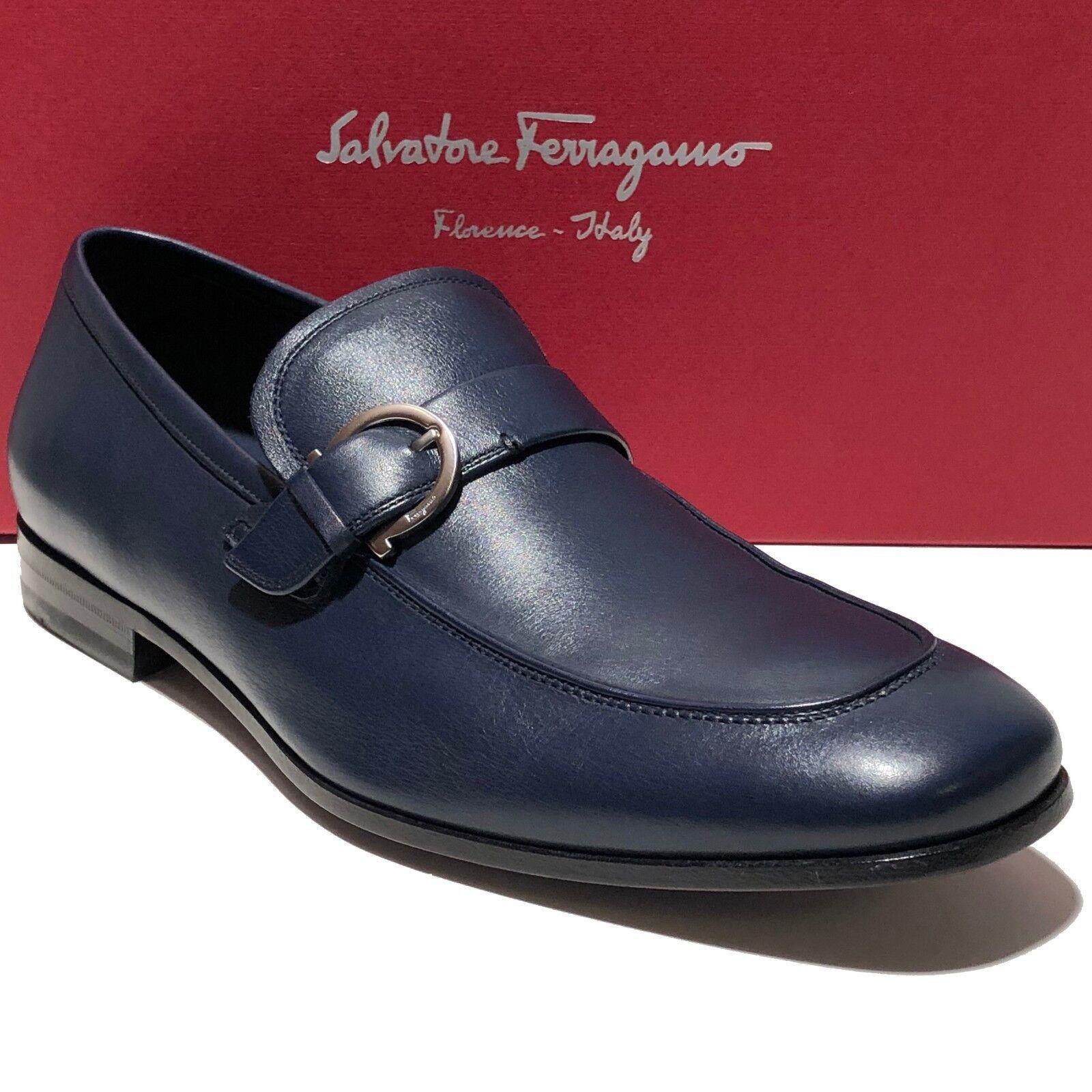 Ferragamo FARUK blu Gancini Bit Dress Loafers 10 D Men's Casual Moccasin Navy