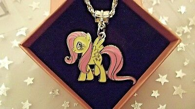 MY LITTLE PONY FLUTTER SHY CHARM NECKLACE STRONG CHAIN 18 INCH GIFT BOX BIRTHDAY