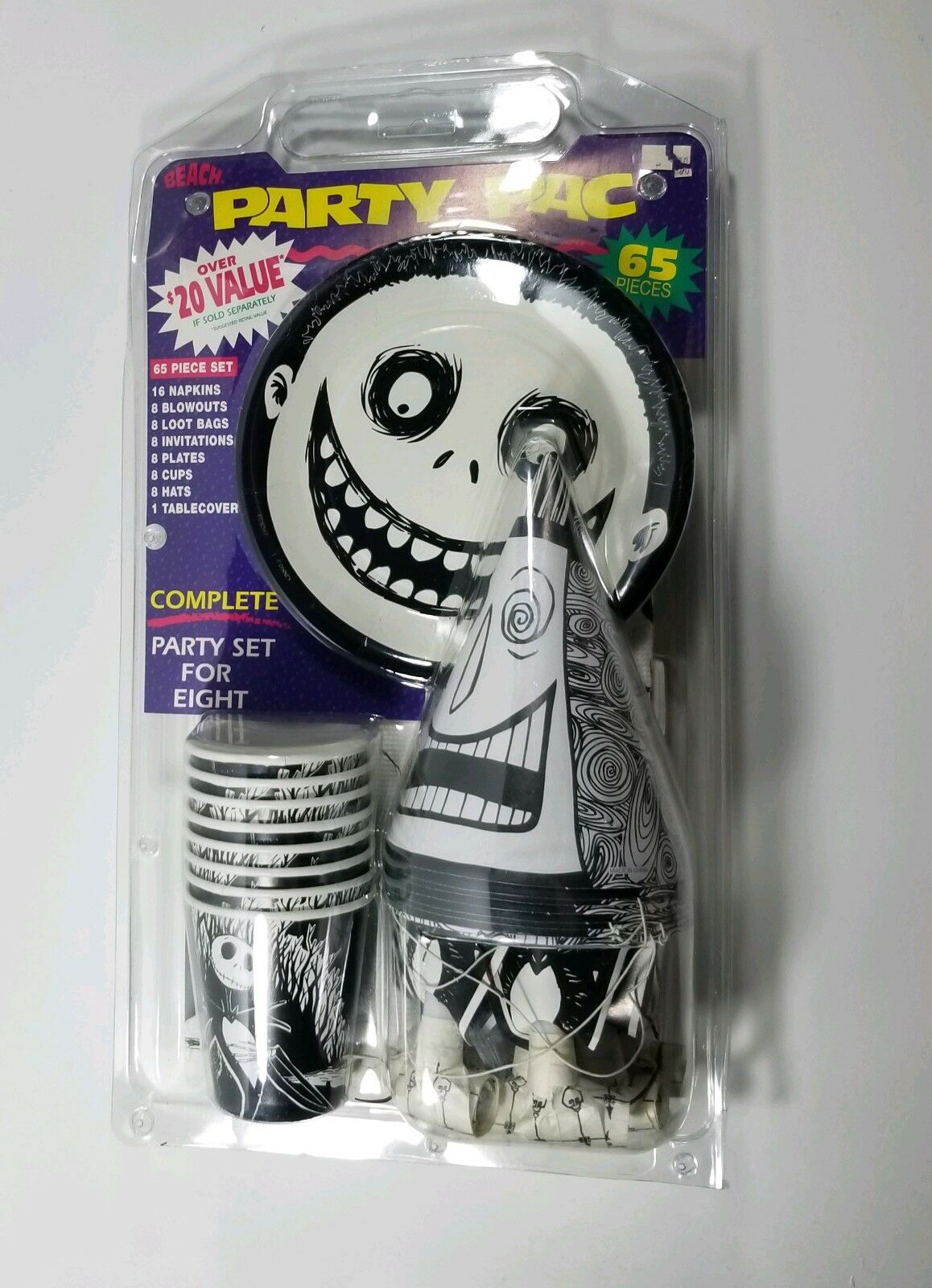 Vintage NOS 1993 Nightmare Before Christmas Party supply set. Unopened set of 8