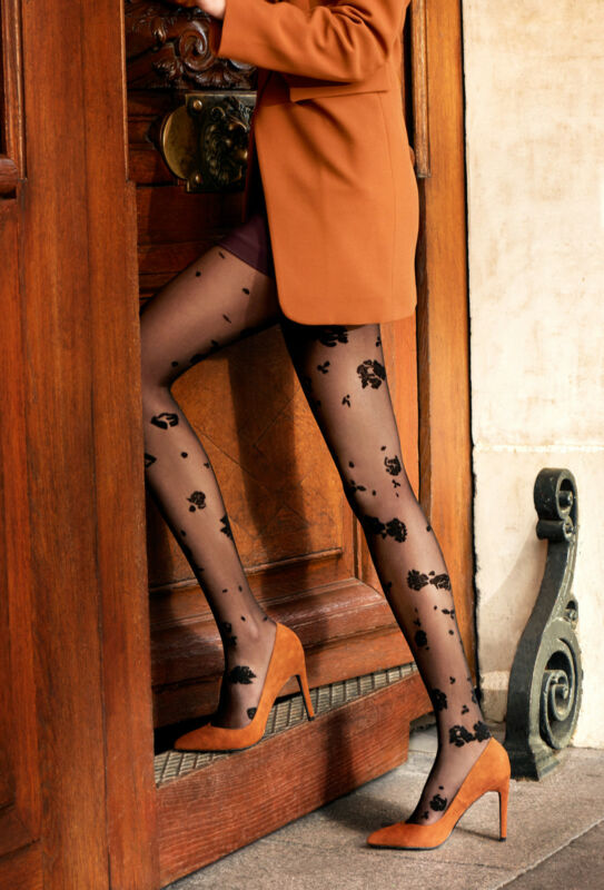 50% On Tights Fancy Effect Embroidery Dentelle Part Camelia Of Gerbe