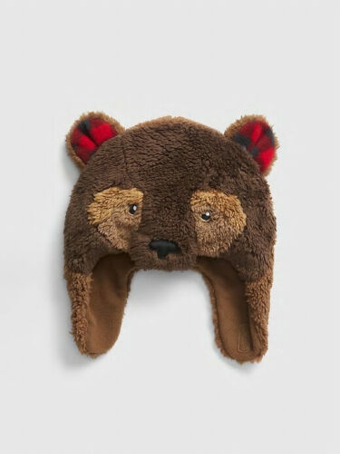 NWT GAP Plush Faux Fur Brown Bear Ears Trapper Hat Cozy Fleece Lining 2 3 4 5