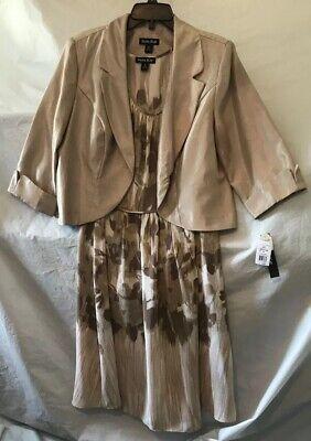 Dana Kay PLUS Light Beige 2 PC 3//4 Sleeve Jacket Chiffon Glitter Dress NEW