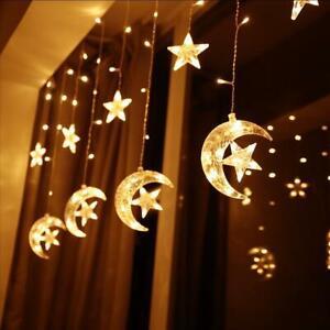 12 Sterne Led Lichterkette Lichtervorhang Fenster Balkon Warmweiss