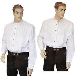 Trachtenhemd Stehkragen Hirschhornknöpfen Hemd weiß