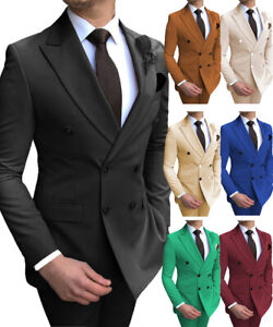 Mens 2 Pieces Suits Double Breasted Prom Notch Lapel Tuxedo Silm