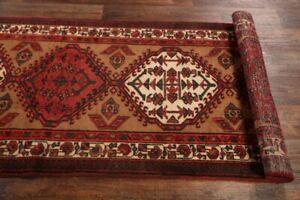 Vintage-Geometric-Tribal-Runner-Rug-Oriental-Hand-made-Wool-Carpet-11-039-0-x-3-039-5-034