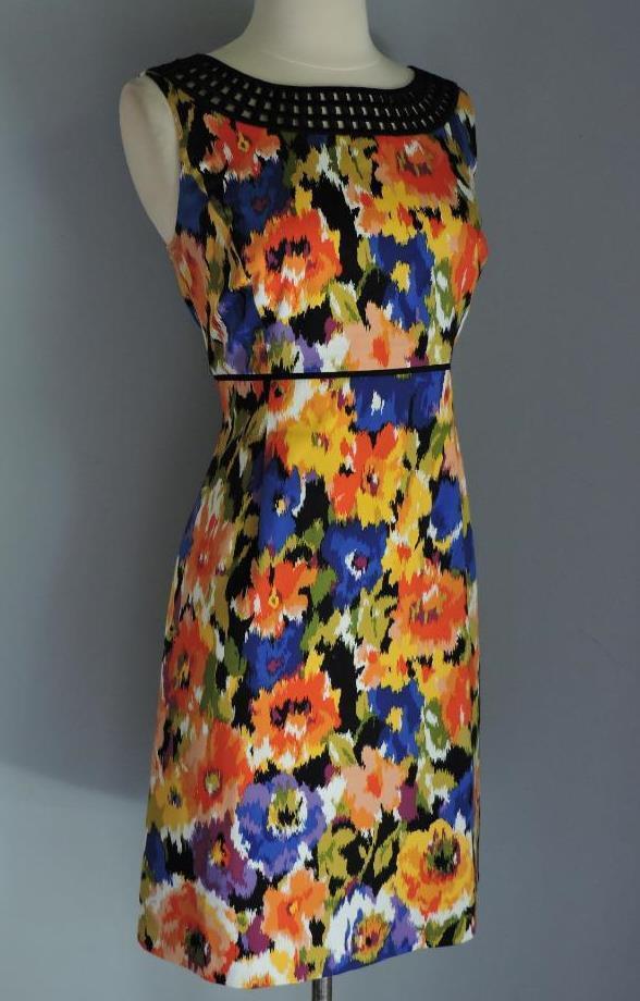 NWT TAHARI Petite schwarz Ladder Trim Sheath Style Dress 8P ( M )