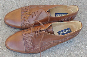 mens Portland brown leather oxford shoes Size 11 1/2 M