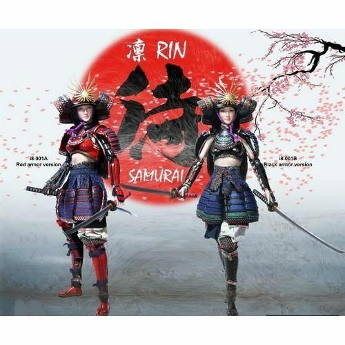 1 6 la hembra Samurai Rin Rojo o Negro Armadura Personalizado Figura Set I 8 Juguetes