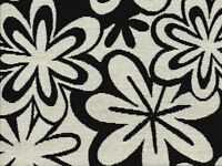 Designer Upholstery Fabric Heavy Wt. Lg Scale Retro Floral - Black / Natural