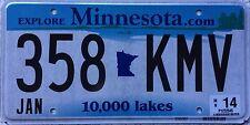 FREE UK POSTAGE Minnesota.com 10000 Lakes USA License Number Plate 358 KMV