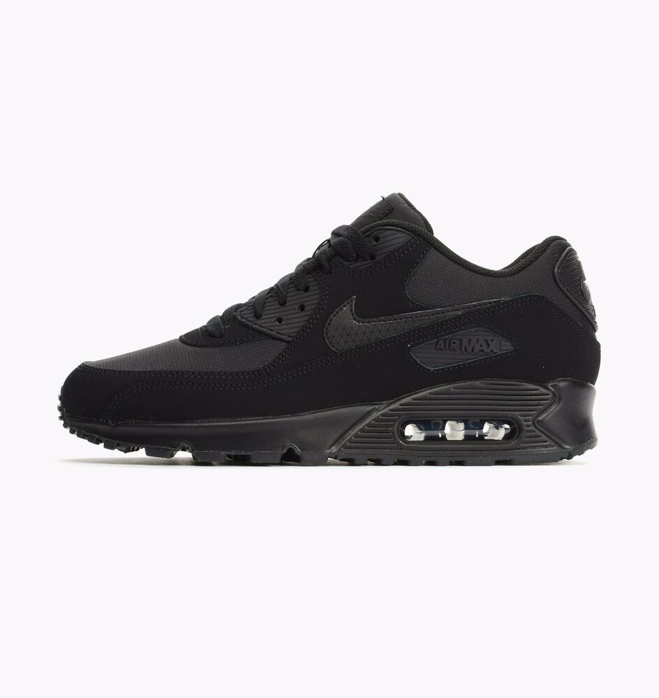 Homme Nike Air Max 90 Essential en cuir noir baskets 537384 046-