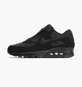 reputable site a668a 0b9ff Details about Mens Nike Air Max 90 Essential Black Leather Trainers 537384  046