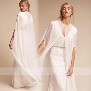 White Ivory Wedding Cape Chiffon Long Floor Length Bridal Shawl ...