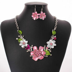 Fashion-Women-Pendant-Flower-Choker-Chunky-Statement-Chain-Bib-Necklace-Jewelry