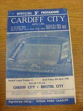 04/04/1958 Cardiff City v Bristol City  (Creased, Folded, Worn, Pin Hole To Corn