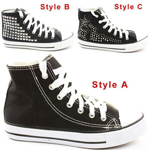 Ladies-Hi-Tops-Trainers-Sneakers-Lace-up-Flat-Sports-Ankle-Boots-Shoes-Size