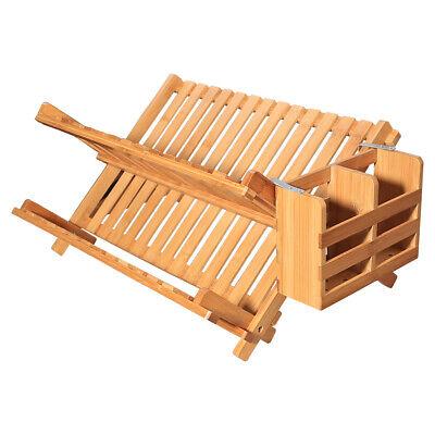 Yardeen Collapsible Bamboo Dish Drying Rack Folding Kitchen Plate Holder 798334188364 Ebay