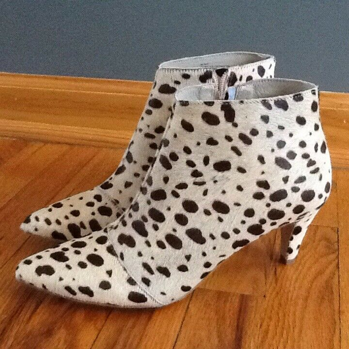 Womens New Matisse Animal Print Ankle Boot Light Beige And Brown Fur Size 8