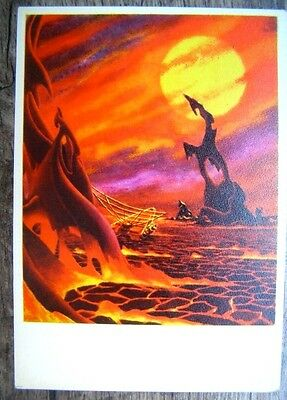 Space Fantasy Soviet Russian Spacecraft Satellite Venus Postcard Art Decor 9