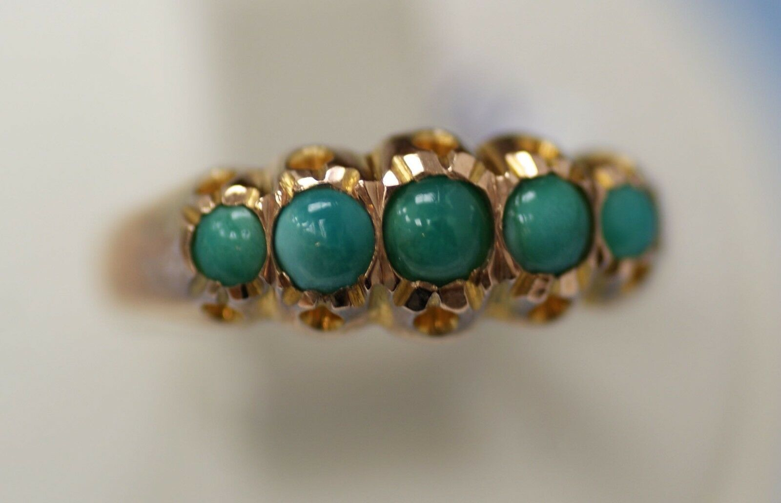 Victorian gold ring 9K with turquoise. Size - 8.5. Signed.