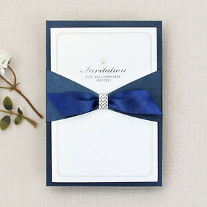 Image Is Loading Navy Layered Wedding Invitations Blue Bows Ribbon Sliders