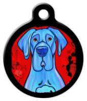 Blue Great Dane - Custom Personalized Pet Id Tag For Dog And Cat Collars