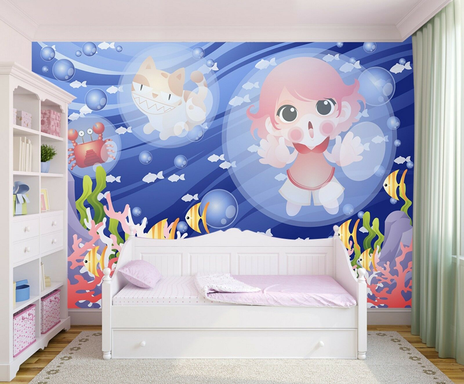 3D Cartoon Ocean World Wall Paper Print Decal Wall Deco Indoor wall Mural