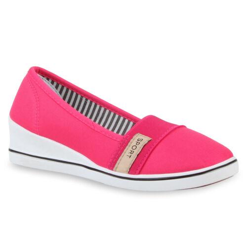 Damen Keilpumps Wedges Canvas Schuhe Pumps Keilabsatz 810470 Top