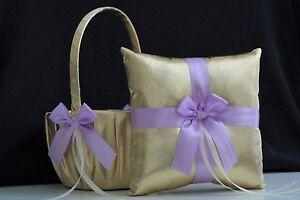 Violet-Gold-Flower-Girl-Basket-amp-Ring-Bearer-Pillow-Lavender-Wedding-Ring-Pillow