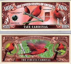 Indiana State Bird 1816 Novelty Money The Cardinal