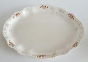 Homer-Laughlin-China-Hudson-Platter-47L-Pink-Gold-Floral-Trim-Shabby-Farmhouse