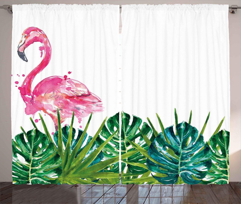 Flamingo Rustikaler Gardine, Exotischer Natur Flamingo