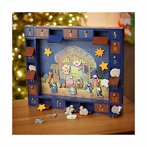 Kurt Adler J3767 Wooden Nativity Advent Calendar With 24 Magnet