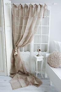 gardine vorhang leinen gardinenschal shabby brocante landhaus vintage ebay. Black Bedroom Furniture Sets. Home Design Ideas