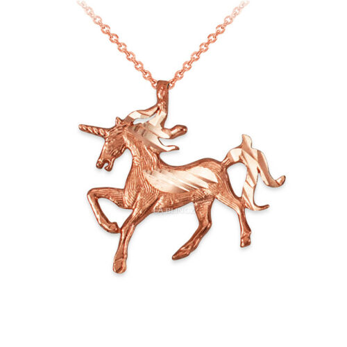 10K or Rose Galloping Licorne DC Charme Collier
