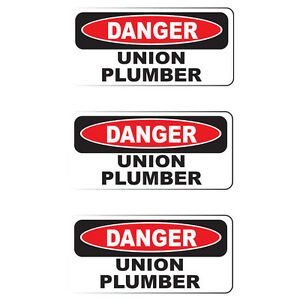 "Danger Union Plumber (3 Pack)HardHat Sticker (size: 2"" x 1"") Printed Sticker"