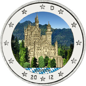 2-Euro-Gedenkmuenze-BRD-Deutschland-2012-Bayern-coloriert-Farbe-Farbmuenze
