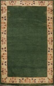 GREEN/ IVORY Bordered Gabbeh Oriental Area Rug Hand-knotted Wool Carpet 3x5 ft