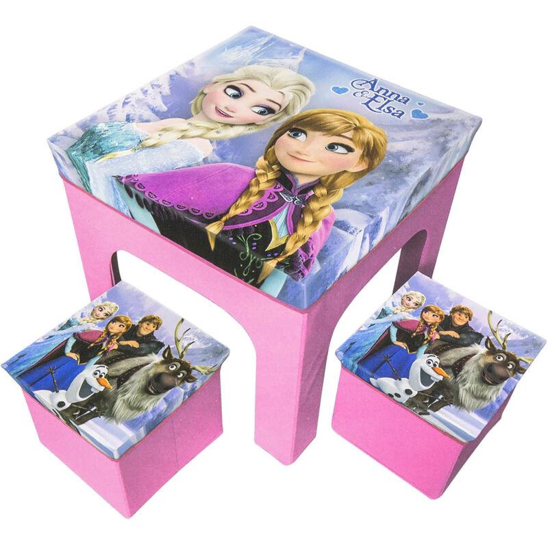 Frozen Anna Elsa Set Tavolo e Due Pouf Sgabello Sedia Pieghevole Gioco bambini