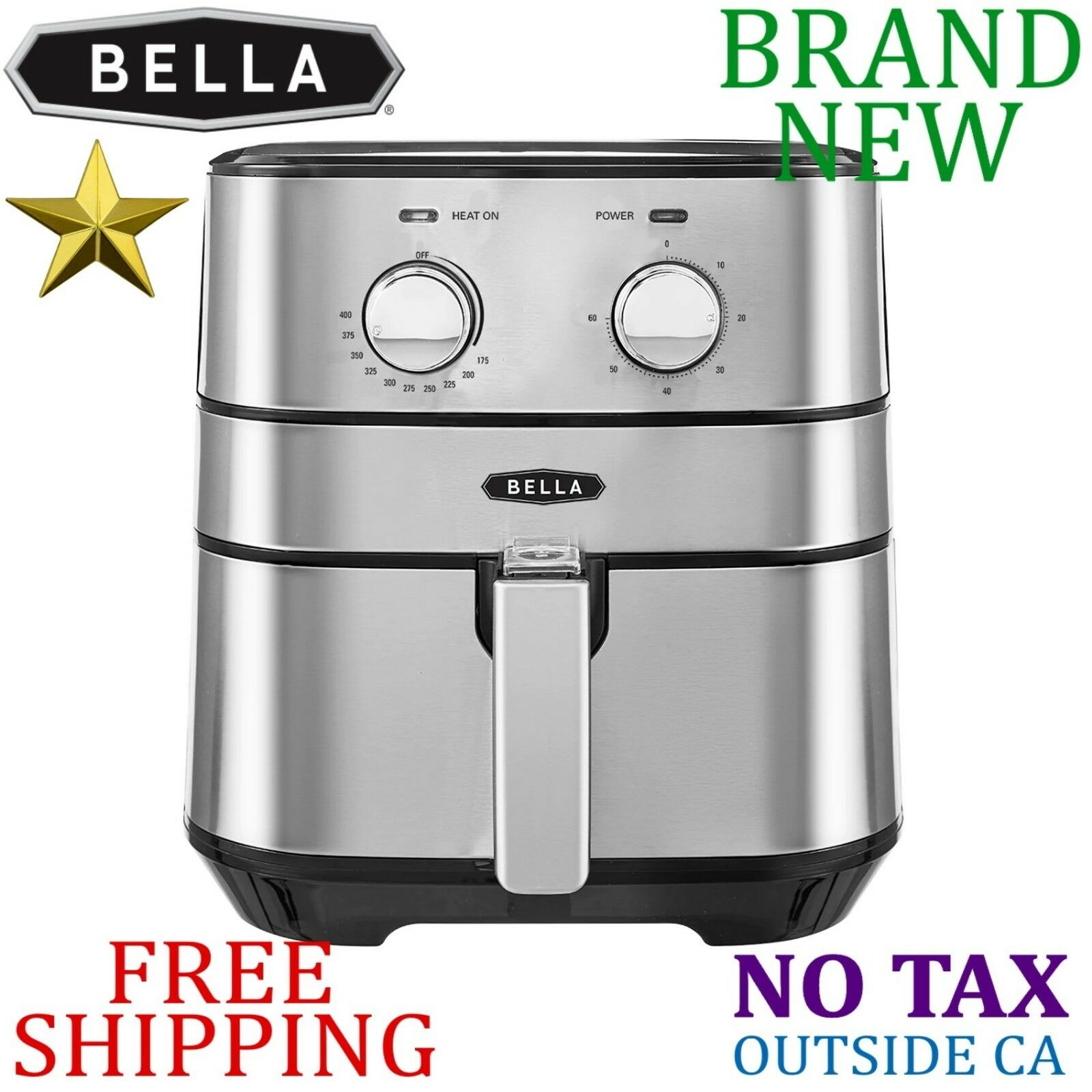 NEW Bella STAINLESS STEEL Air FRYER 5.3 qt Auto Timer 1700W Basket FAST Cooking