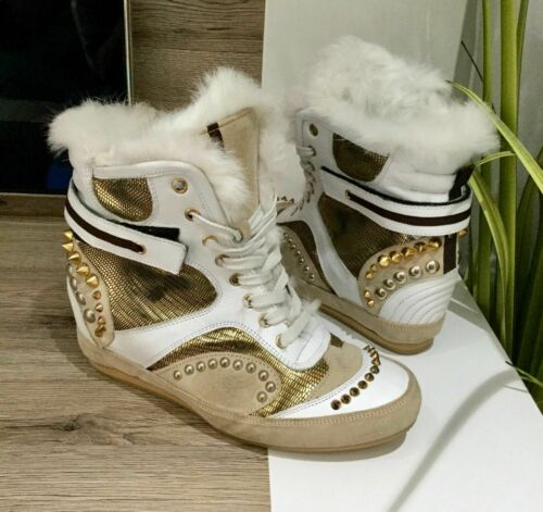BALDAN Leather & Fur High Top Sneakers Wedge Heel Trainers Boots Shoes UK Size 8