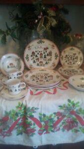 The-Joy-Of-Christmas-Dinnerware-Set-Jamestown-China-Holiday-20-Pc-VINTAGE