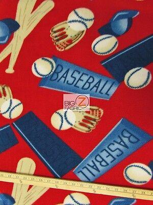 "BASEBALL PRINT POLAR FLEECE FABRIC(SPORTS) - Ball & Bat - 60"" WIDE SOLD BTY 160"