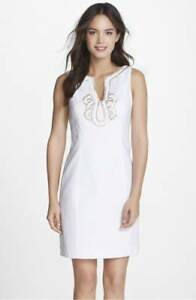 NEW-Lilly-Pulitzer-Dress-Janice-Shift-cotton-Embellished-Women-Dress-white-0-2-4