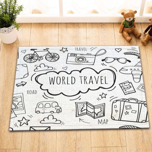"15X23/"" Sketch World Travel Bathroom Floor Rug Carpet Non-Slip Bath Doormat"