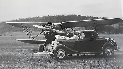 """12 By 18"""" Black & White Picture 1933 Ford 3 window Coupe with Bi-plane"""